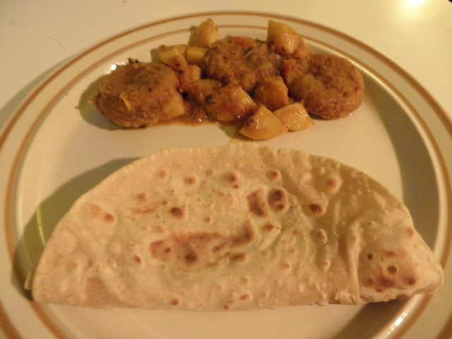 Kanch kalar kofta with roti