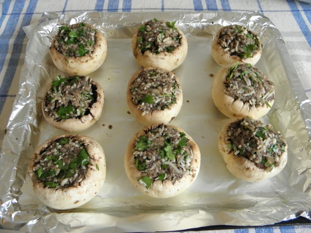 Mushrooms are ready to go into the oven