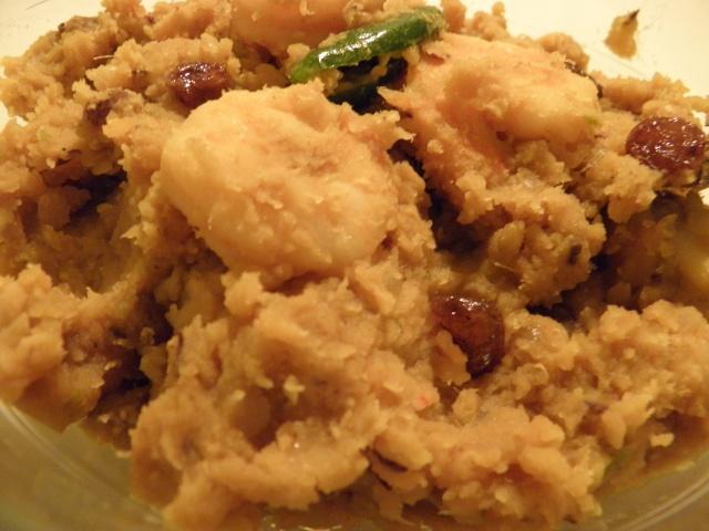 Musur Chingrir Dom or Masoor Lentils with Prawn
