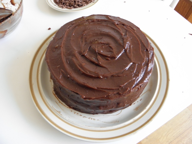 Swirl topped chocolate fudge cake