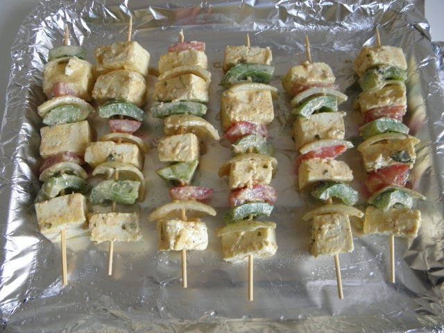 Skewers are ready to go into the oven
