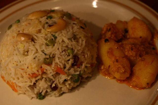 Vegetable Pulao with Kashmiri Dam Aloo