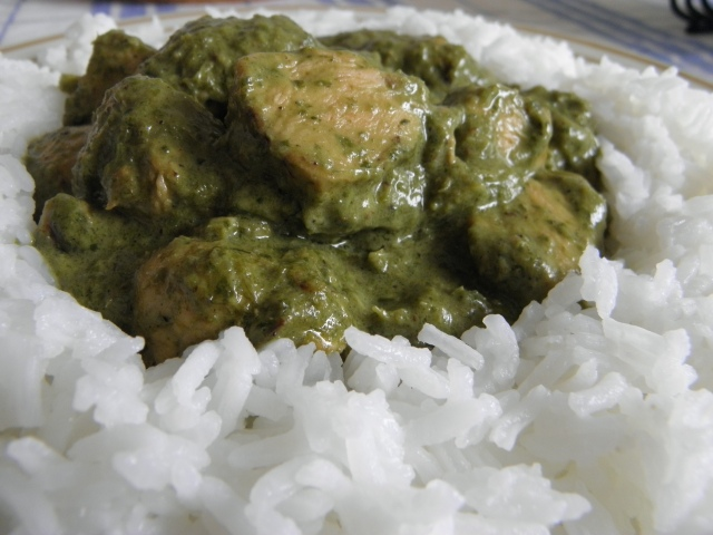 Green chicken curry with Jasmine rice