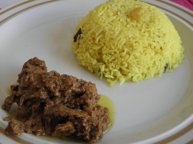 Mutton badam pasanda with misti pulao