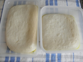 Pizza dough after rising