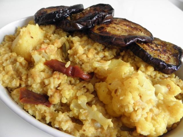 Khichuri & Begun bhaja is ready to be served