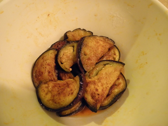 Shallow fried aubergine slice