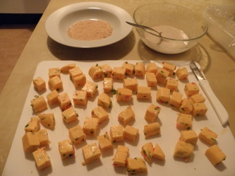 Cheese block cut into cubes