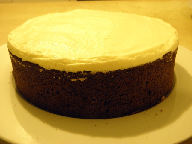 Carrot cake topped with cream cheese