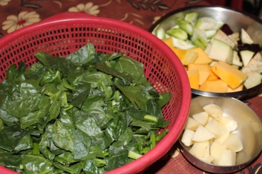 Chopped spinach & other vegetables