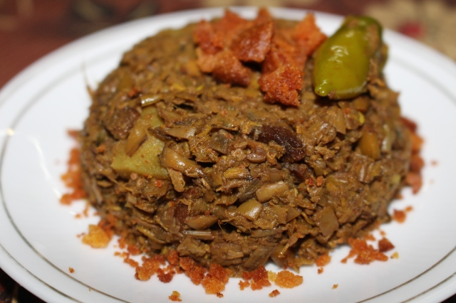 Mochar Ghanto (Dry Banana Flower Curry)