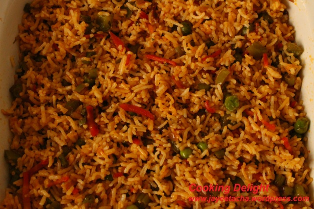 Mexican fired rice is ready to serve