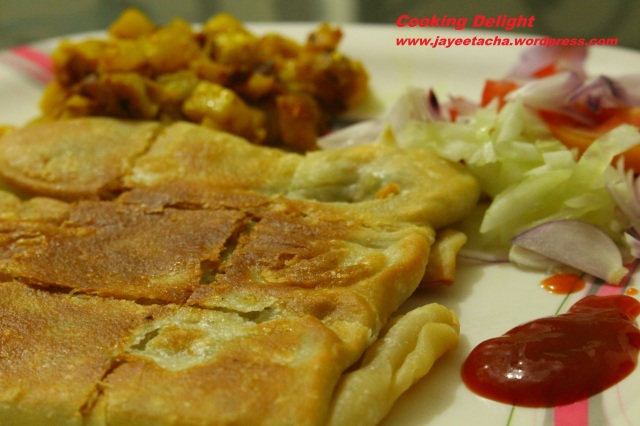 Mughlai paratha is ready to be served