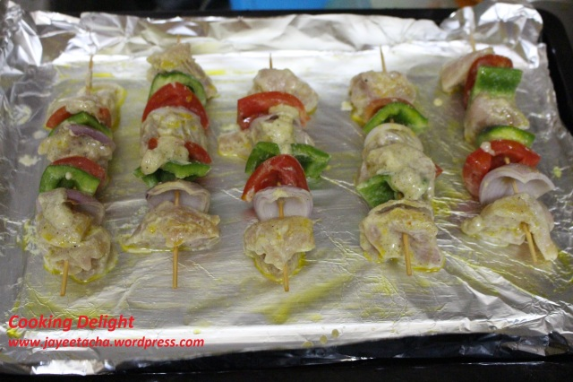 Chicken skewers are ready to grill